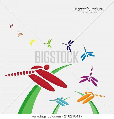 Vector of colorful dragonflie on green grass and dragonflie flying on a white background. Insect. Animal Design.