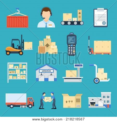 Warehouse and logistic set. Logistics management system, unloading materials, distribution network. Vector flat style cartoon illustration isolated on blue background