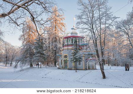 Pavilion Creaking summerhouse in the Catherine Park in winter Tsarskoye Selo St. Petersburg Russia
