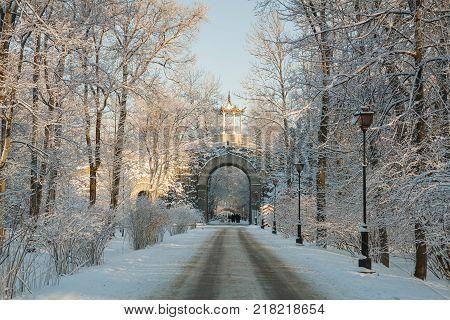 Chinese Gazebo and Gothic Gate of Alexander Park in Pushkin Saint-Pertersburg Russia