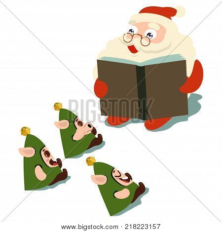 Santa Claus reading a book elves. Vector cartoon character isolated on a white background.