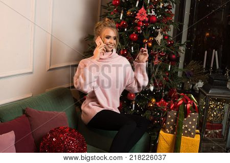 Happy conversation with boyfriend before New Year. Happy future holidays and conversation about celebration Christmas together. Call for me at Christmas night. Warm winter with love of all life
