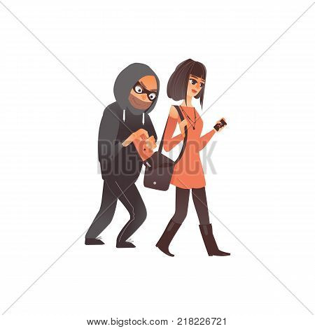 vector cartoon man burglar in hood pickpocket stealing wallet from the handbag of beautiful woman. Isolated illustration on a white background.