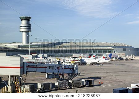 Toronto Canada - Oct 22 2017: Air Canada and rouge airplanes at the Toronto Pearson International Airport Canada