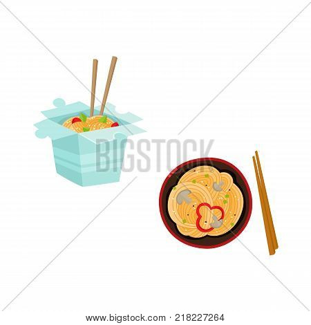 vector flat asian wok udon noodles in paper box, in ceramic pot with bamboo sticks top view. Stir fry eastern fastfood icon for menu design. Isolated illustration on white background