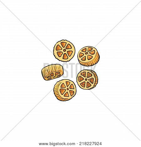 Raw, uncooked wagon wheel shaped Italian pasta, Rotelle, sketch style vector illustration on white background. Realistic hand drawing of wagon wheel shaped Italian pasta