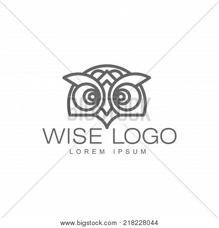 wise hand drawn wise owl head closeup , brand logo stylized design silhouette pictogram. Line icon bird isolated illustration on a white background.