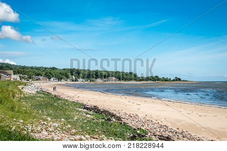 Coast of Golspie, Sutherland, Highland, Scotland. A summer view along the North Sea coastline and award winning beaches of Golspie a small town in the north east of Scotland in the Scottish Highlands.