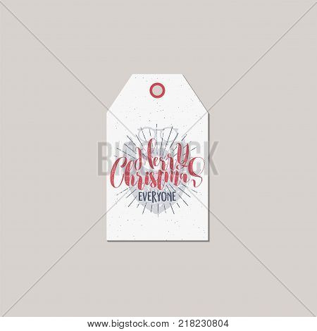 Merry Christmas and New Year gift tag. Holiday card concept with xmas symbols - santa face and typography quote - merry christmas everyone. Stock Vector illustration isolated on white background.