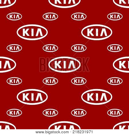 Circa - December 12, 2017: KIA company emblem. KIA is a Korean automobile manufacturer. Seamless pattern