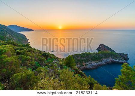 Sunset in Puesta de Sol en Sa Foradada Palma Mallorca islands Spain.