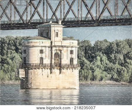 Historic water intake tower number 2 built in 1915 and the Old Chain of Rocks bridge on the Mississippi River near St Louis, a photo with digital painitng effect