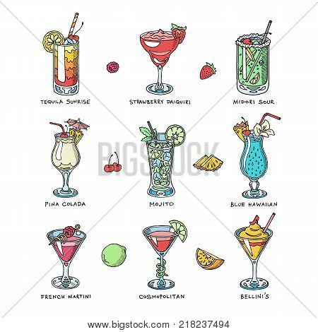 Cocktail vector alcohol beverage drinking alcoholic tequila martini drink cocktail in glass with pina colada mojito and cosmopolitan or drinkable bellinis isolated on white background illustration.