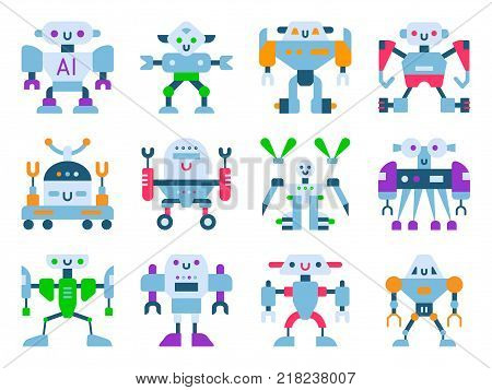 Robots vector cartoon robotic kids toy cute character monster or transformer cyborg robotics transform robotically isolated in white background illustration.
