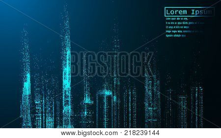eps10. Night city with glowing light effects. Urban cityscape. Shining glitter particles allocated on neutral background. Space for your message. vector illustration.