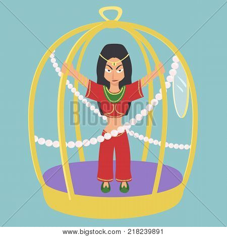 oriental woman in gold cage - funny vector cartoon illustration of women rights suppression in traditional world