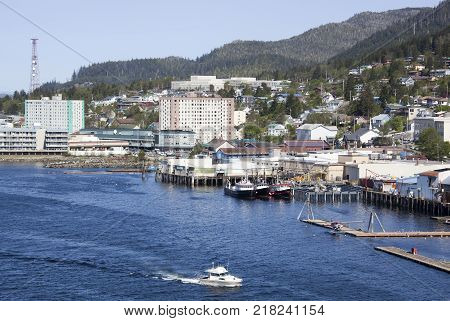 The motorboat passing by in Ketchikan town (Alaska).