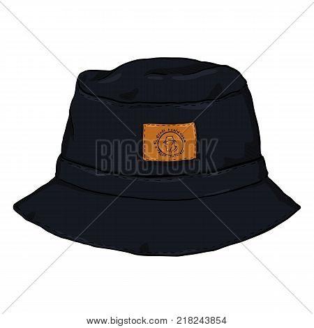 Vector Single Black Cartoon Bucket Hat. Front View. Urban Fashion.