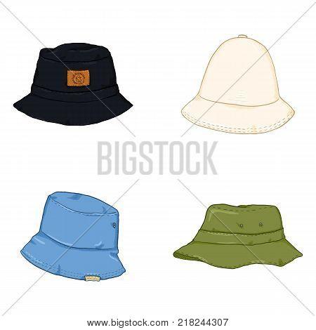 Vector Set of Cartoon Color Bucket Hats. Hip-hop Style Headwear.