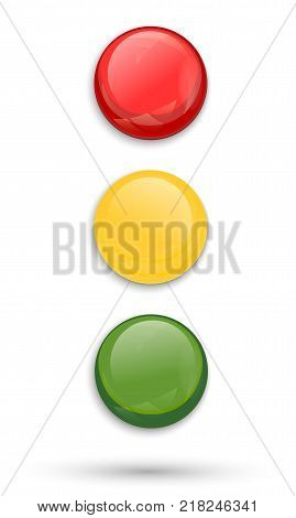 Traffic lights isolated on white background. Red, yellow and green signal light. Vector illustration.