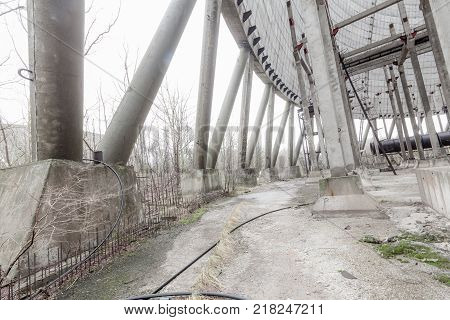 Chernobyl, Ukraine. Inside view from unfinished cooling tower of Chernobyl nuclear power plant block 5 poster