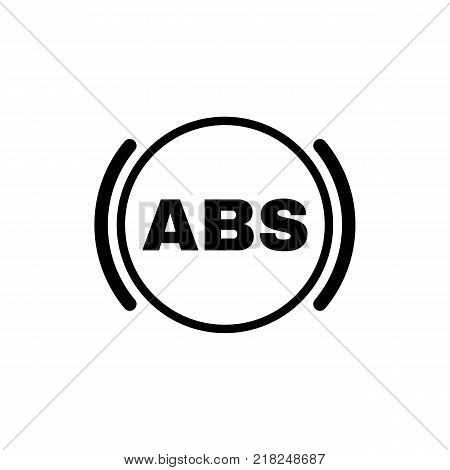 The abs icon. Brake and car symbol. Flat design. Stock - Vector illustration