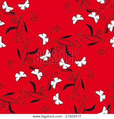 Red Seamless Background With Flowers And Butterflies