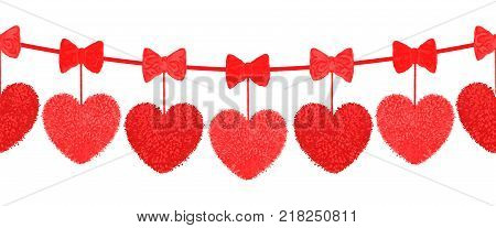 Vector colorful illustration of decortive elements with red pom-poms in shape of heart hanging on the ropes as garland isolated on white background. Decor for Valentines day design. Seamless pattern