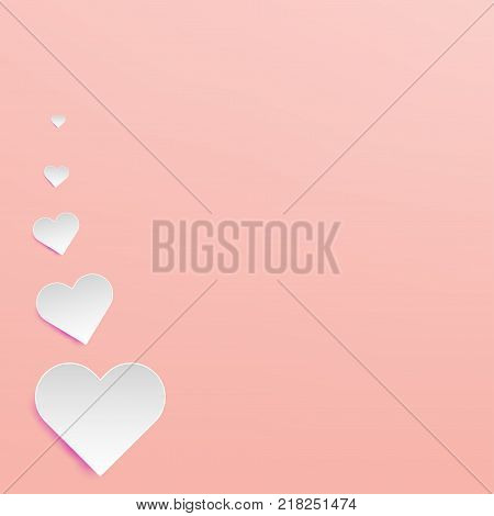 Illustration paper art of white hearts float on soft pink background using for Valentine day love couple background concept paper art paper cut and craft style.