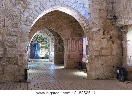 Acre Israel November 03 2017 : Historical exhibits installed in one of the halls in the ruins of the fortress in the old city of Acre in Israel