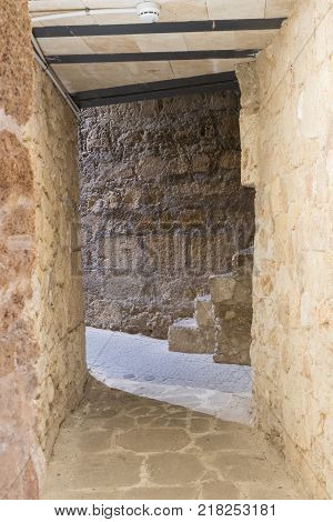 Acre Israel November 03 2017 : Passage in the wall in the ruins of the fortress in the old city of Acre in Israel
