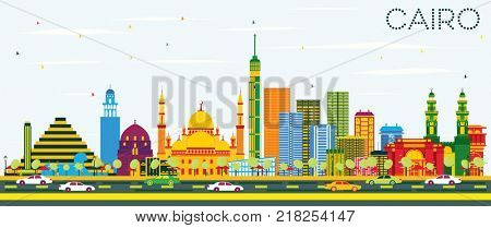 Cairo Egypt Skyline with Color Buildings and Blue Sky. Business Travel and Tourism Concept with Historic Buildings. Cairo Cityscape with Landmarks.