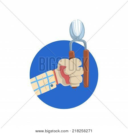 Hand holding pruner, symbol of the profession of a gardener cartoon vector Illustration on a white background