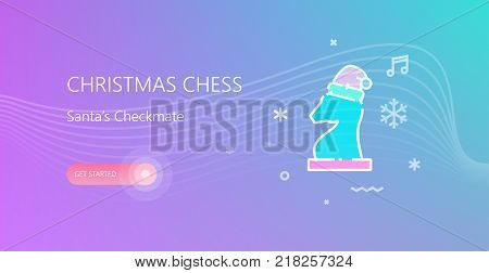 Vector illustration of Christmas Chess banner with chess figure in christmas hat icon on colorful background.