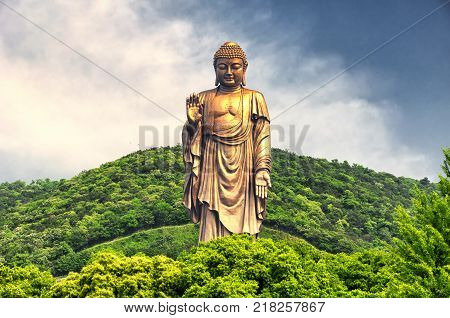 The Lingshan grand Buddha scenic attraction in Wuxi China in Jiangsu province.