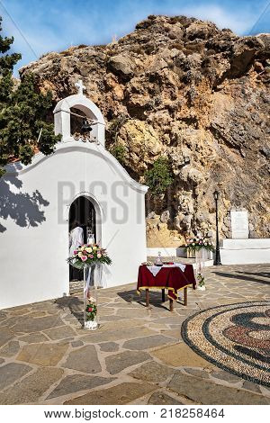 Wedding chapel ready for ceremony in St. Paul´s bay on Rhodes Greece
