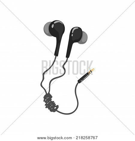 Black corded earphones, music technology accessory cartoon vector Illustration on a white background