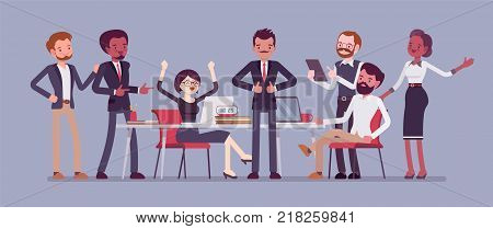 Successful team gathering. Group of young people, startup company celebrating completed task, job, or common project, entrepreneurial venture. Vector business concept flat style cartoon illustration