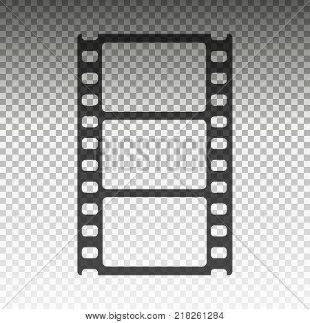 The film strip isolated on transparent background. symbol. Flat design. Stock - Vector illustration