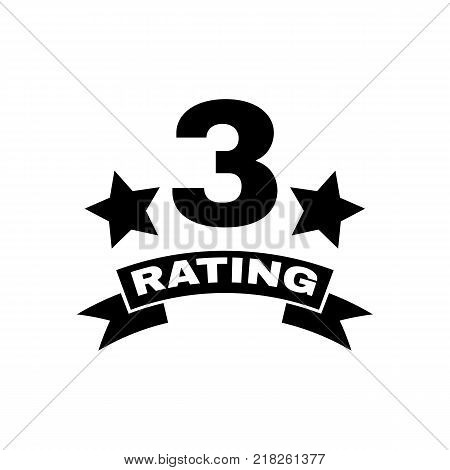 The third place rating icon. Ranking and classification, star symbol. Flat design. Stock - Vector illustration