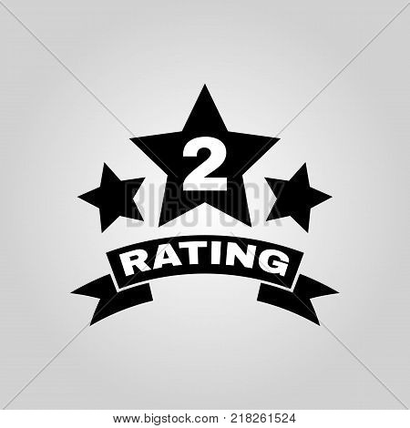 The second place rating icon. Ranking and classification, star symbol. Flat design. Stock - Vector illustration