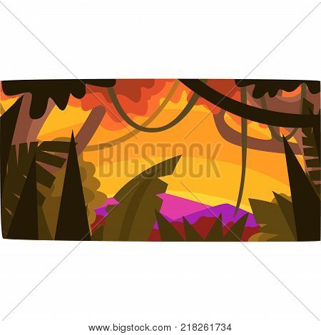 Sunset in tropical jungle, greenwood background with leaves, bushes and trees, tropical rainforest scenery vector illustration, forest backdrop