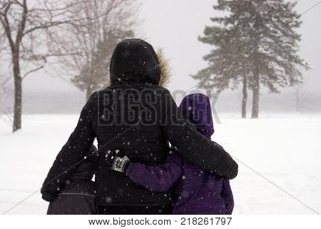 A loving embrace of such winters magic during the wonderful fresh snowfall.