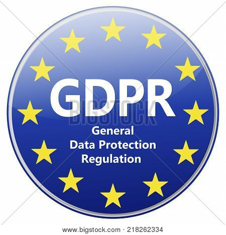 Gdpr - General Data Protection Regulation. Banner With Eu Stars And Padlock