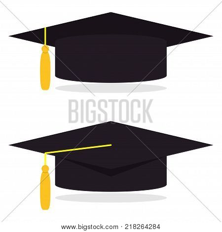 Graduation cap, vector illustration in flat style. Academic caps set. Graduation cap isolated on white