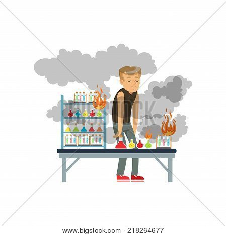 Boy after a failed chemical experiment, schoolgirl at chemistry lesson vector Illustration on a white background