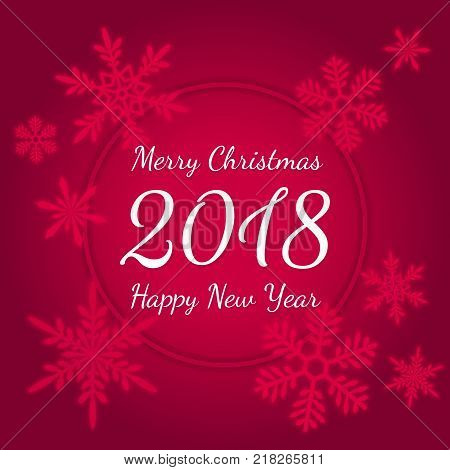 merry christmas and happy new year 2018 holiday vector banner with typographic text in circular