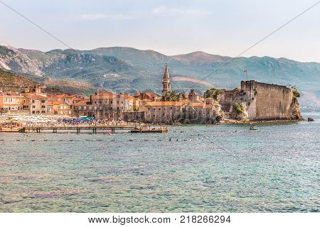 View of the old town and the citadel, Budva, Montenegro. The Balkans, the Adriatic Sea, Europe.