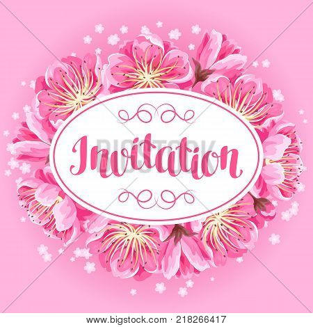 Invitation with sakura or cherry blossom. Floral japanese ornament of blooming flowers.