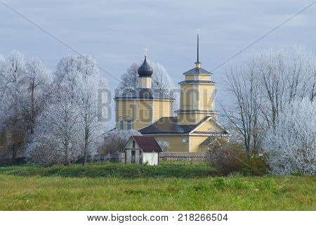 Church of St. George in the October frost. Voronich, Pushkinkie Gory. Russia